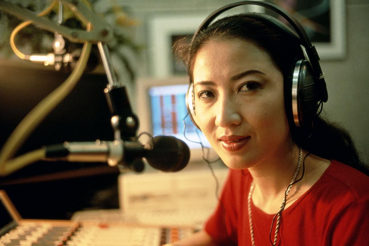 A radio station operator at work.