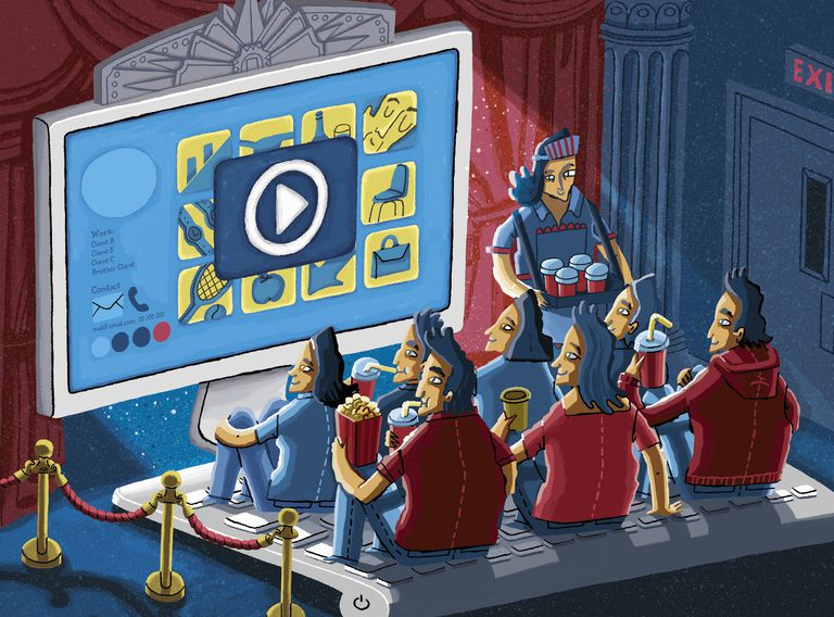 Cartoon image of Happy audience enjoying watching entertaining video on website using computer as movie theatre