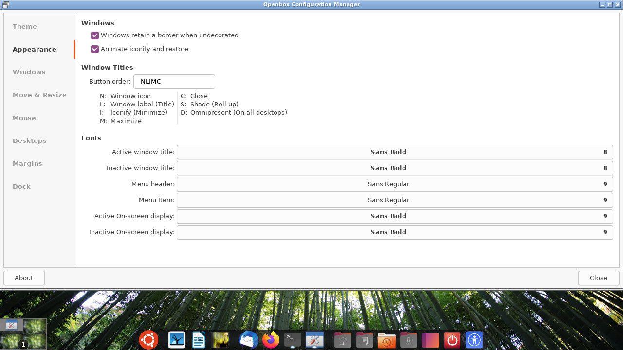 Ubuntu Openbpx appearance settings