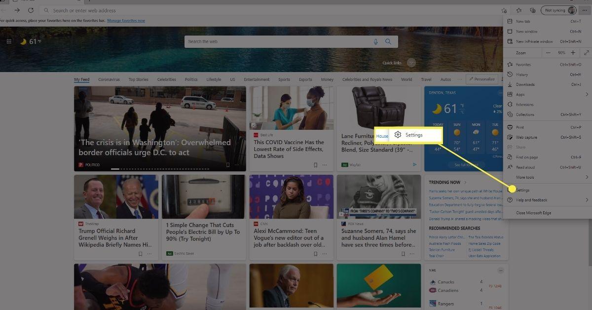 Settings in Microsoft Edge Settings & More menu