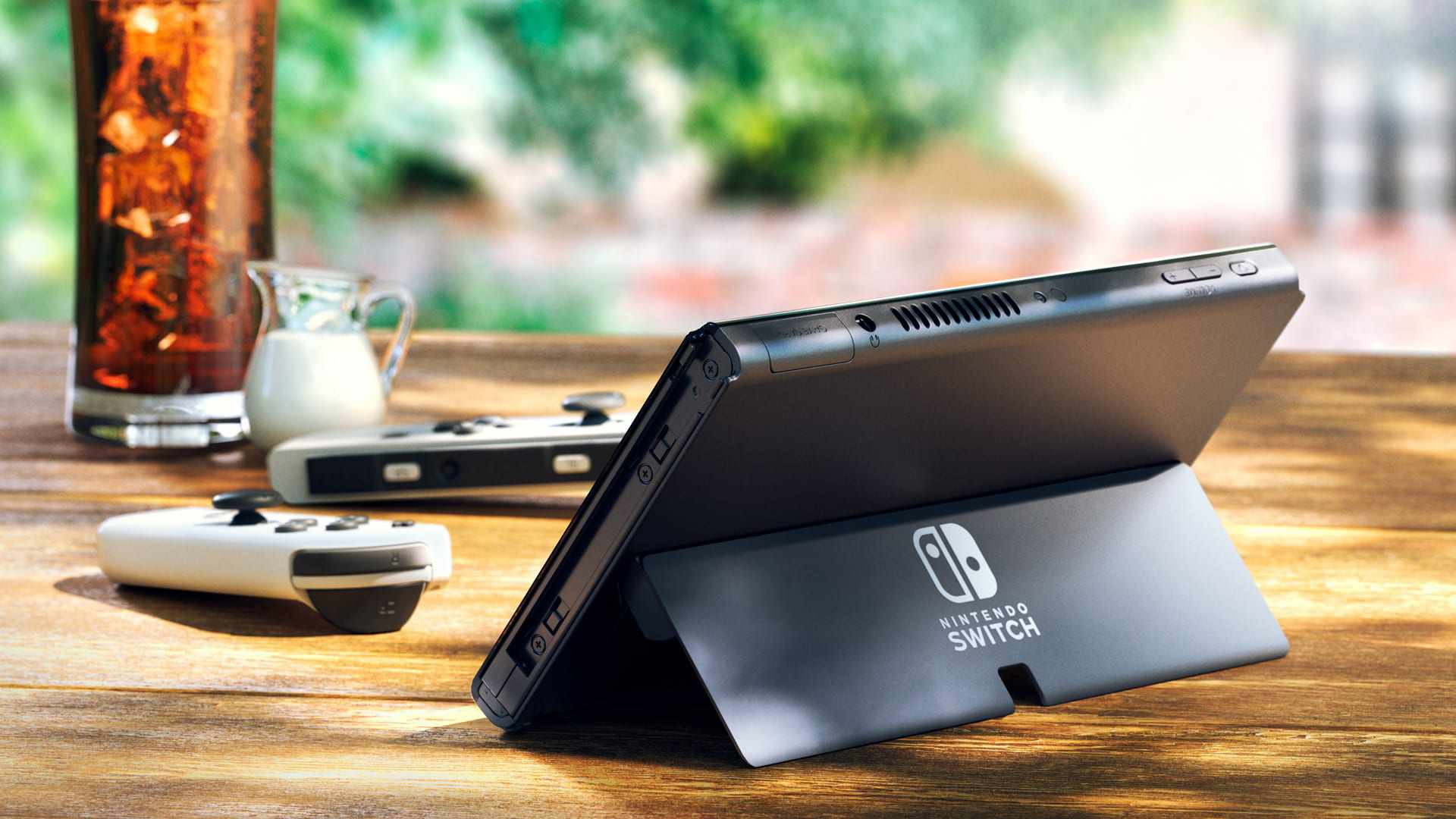 Nintendo Switch OLED model with stand