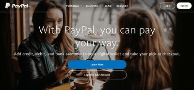 PayPal main page
