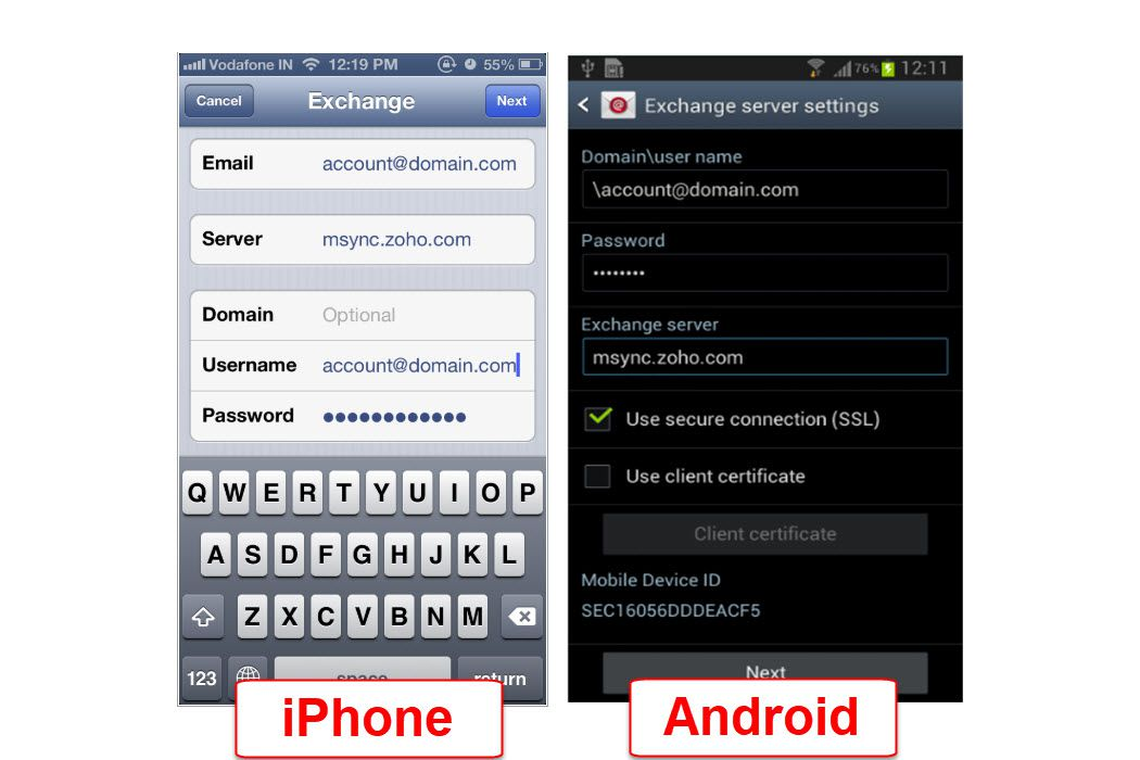 Exchange ActiveSync settings in Zoho Mail for iPhone and Android
