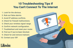 Troubleshooting tips to try if you can't connect to the internet.