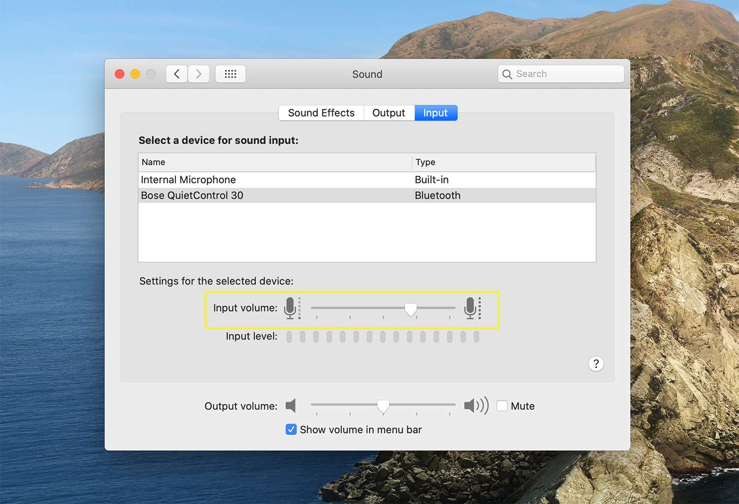 Input volume settings for sound devices on macOS