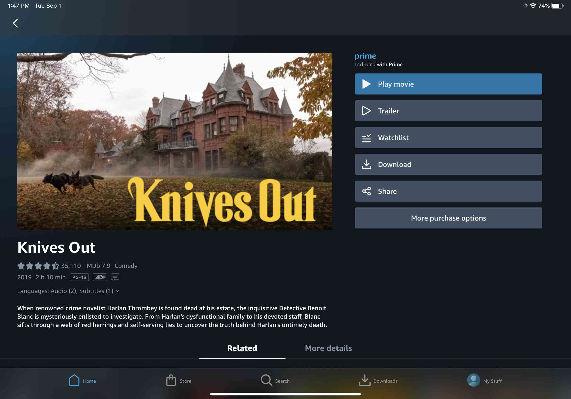 The Amazon Prime Video entry for 'Knives Out.'
