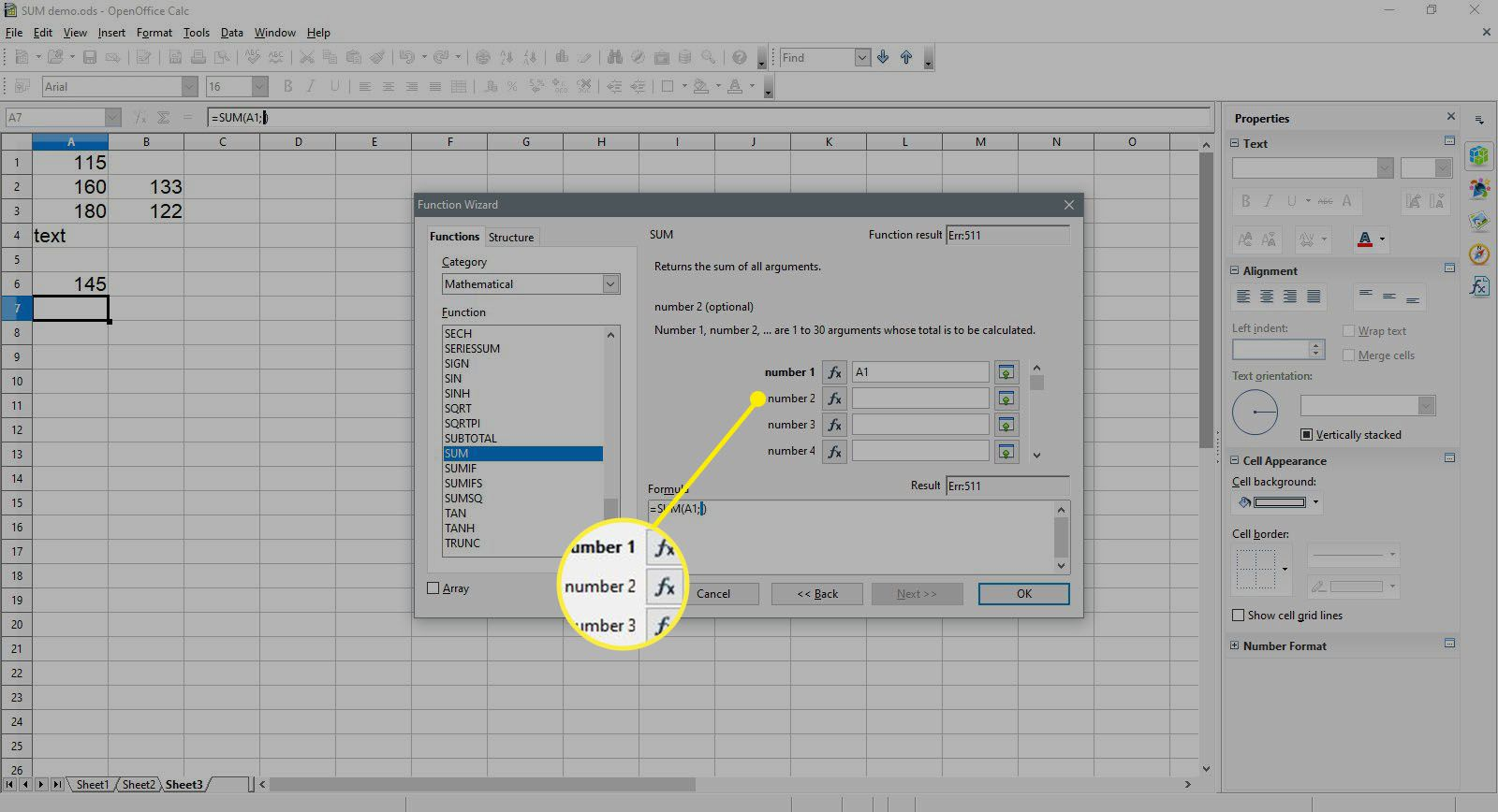 Selecting number 2 in the SUM function in OpenOffice Calc.