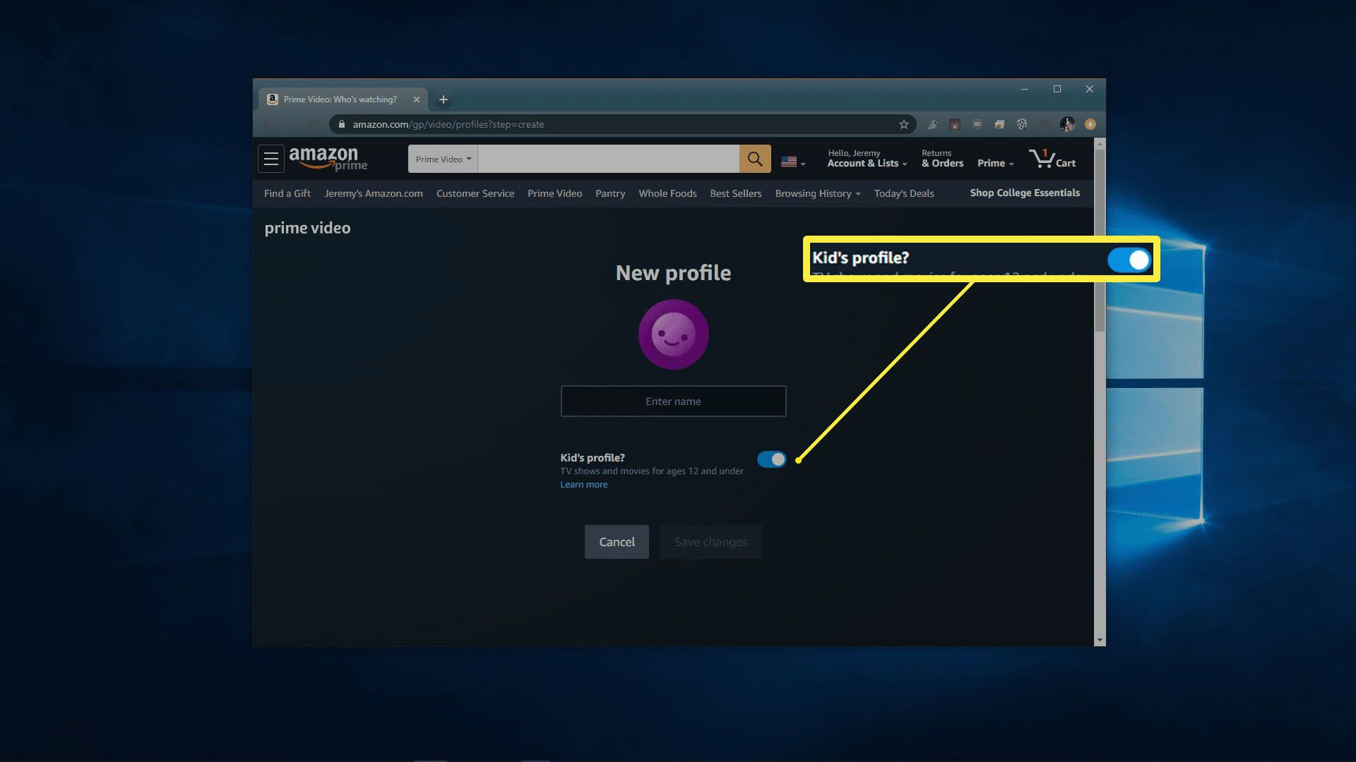 A screenshot of creating a profile in Amazon Prime Video.
