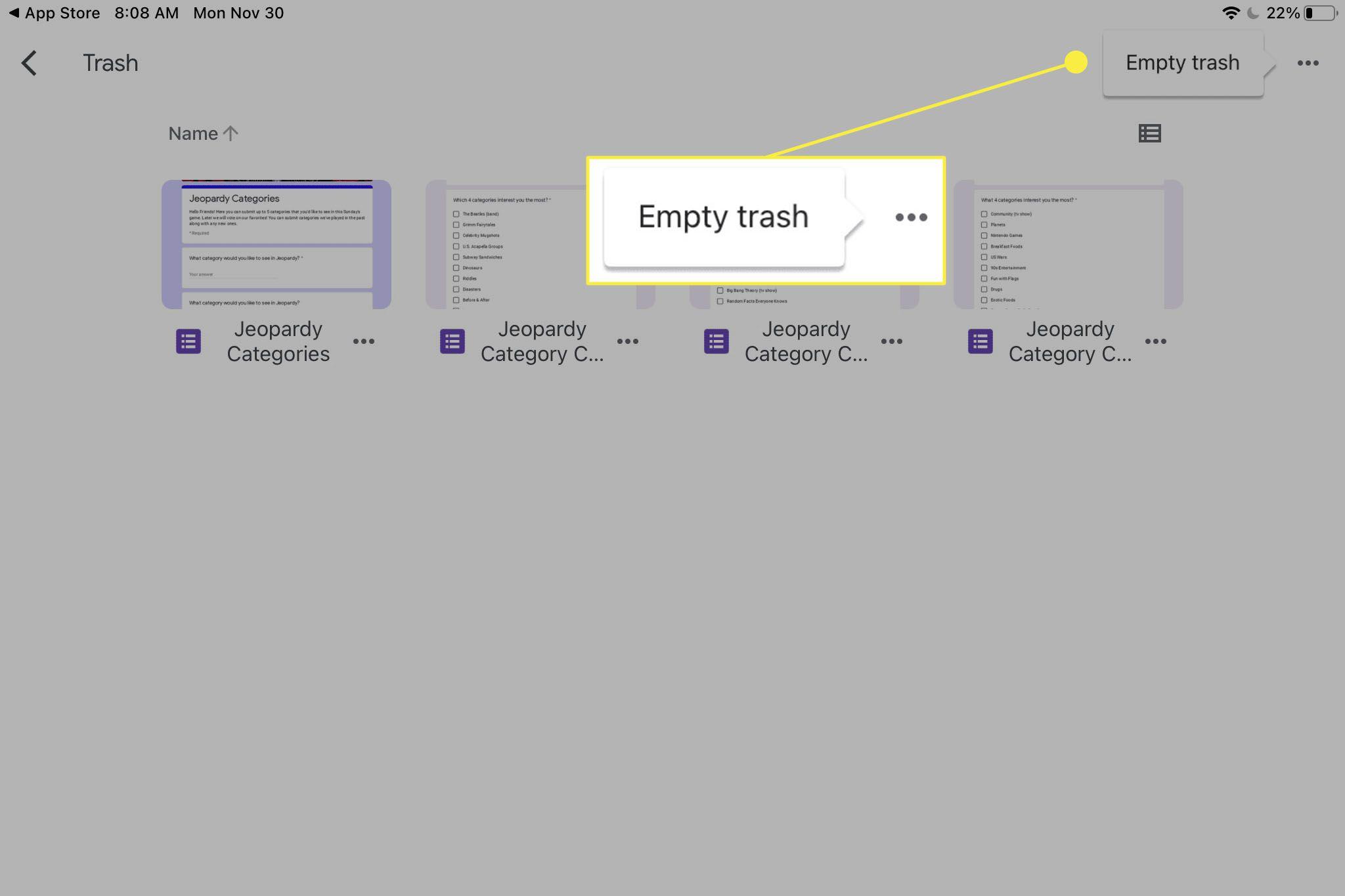 Google Drive trash folder on iPad.