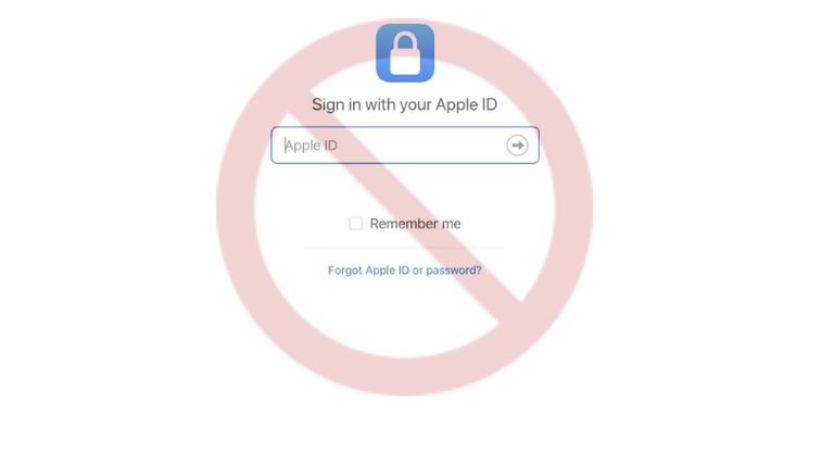 Screenshot showing the Apple ID login page with the NO symbol