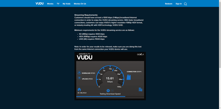 Screenshot of the Vudu download speed and upload speed test.
