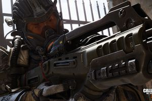 Armored future soldier aiming a big gun in Call of Duty Black Ops