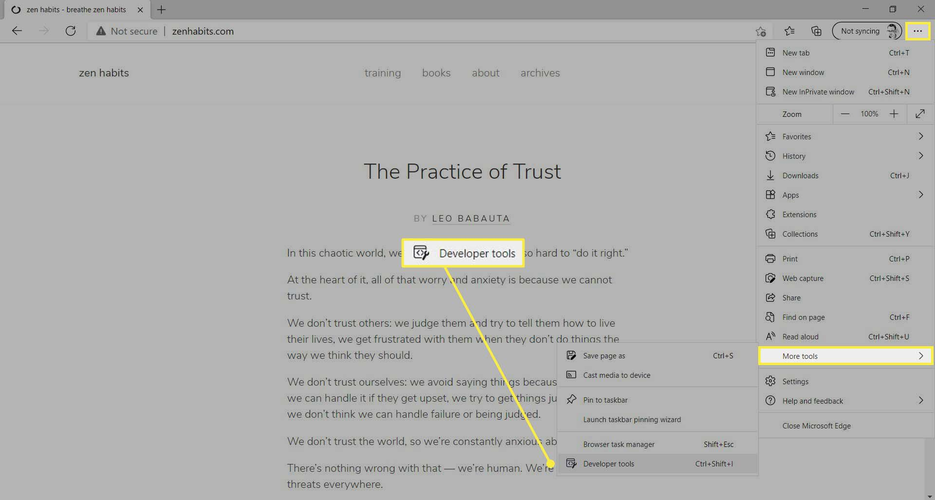 Developer tools highlighted in the More menu in Microsoft Edge's main menu.