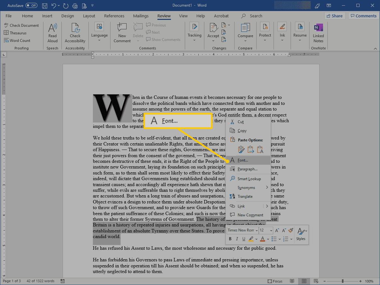 Font menu item in Word
