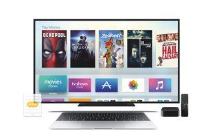 Apple TV, TV, and Mac laptop