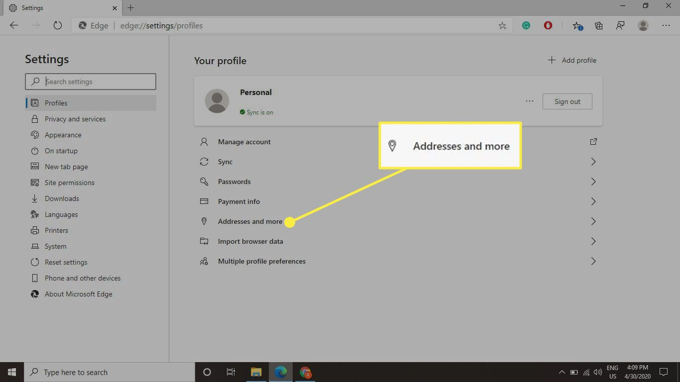 Edge's Profile settings with the Addresses and More section highlighted