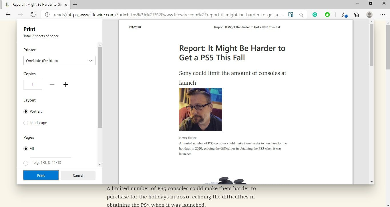 Microsoft Edge browser printing options