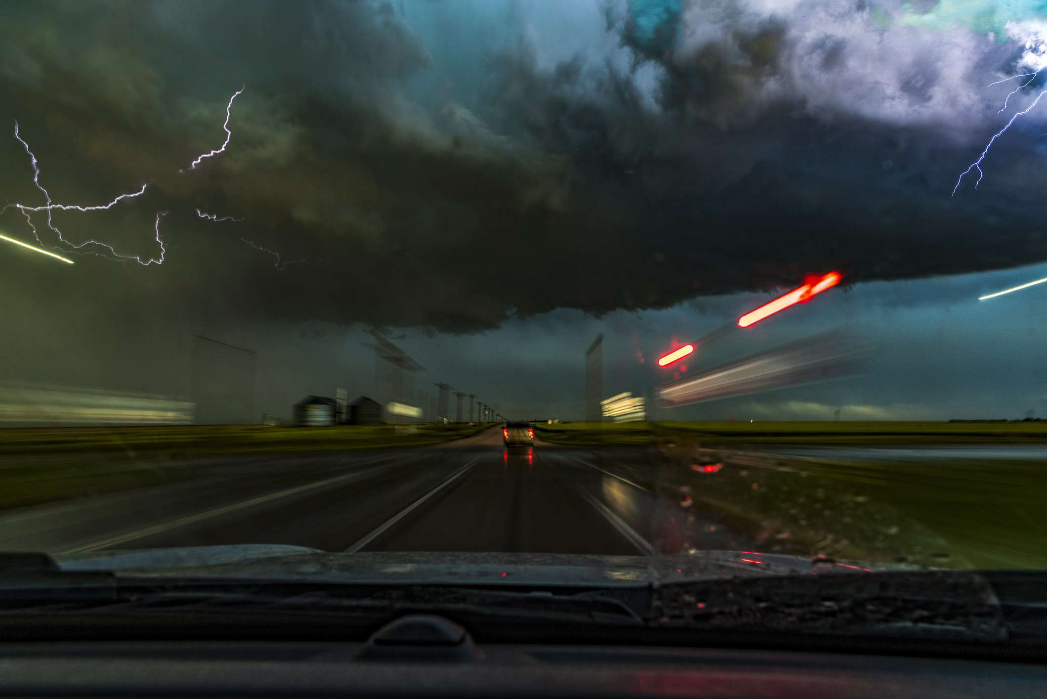 Storm and lightning from a dashcam point of view in Colorado, USA