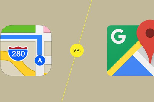 An illustrations of Apple Maps vs Google Maps
