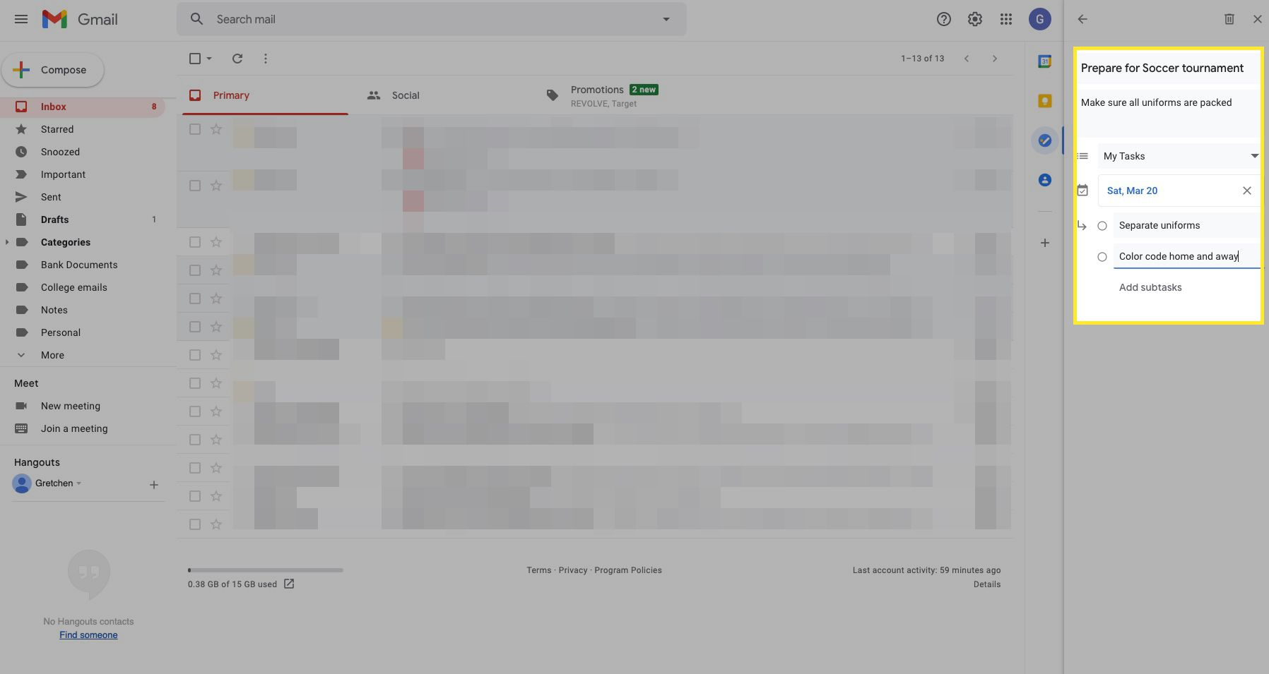 Google Task screen with notes, date, and subtasks highlighted