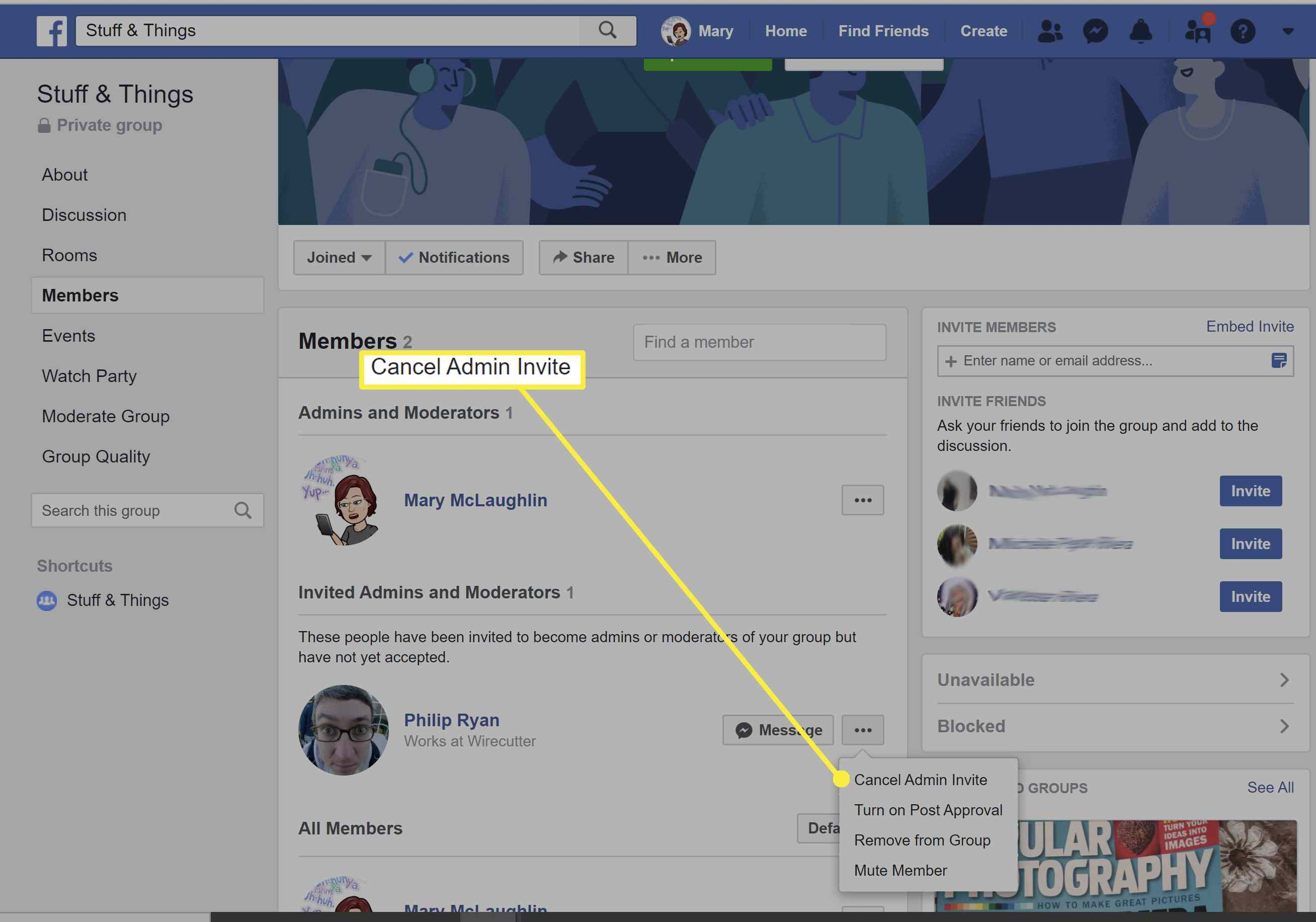 Canceling admin invite on a Facebook page.