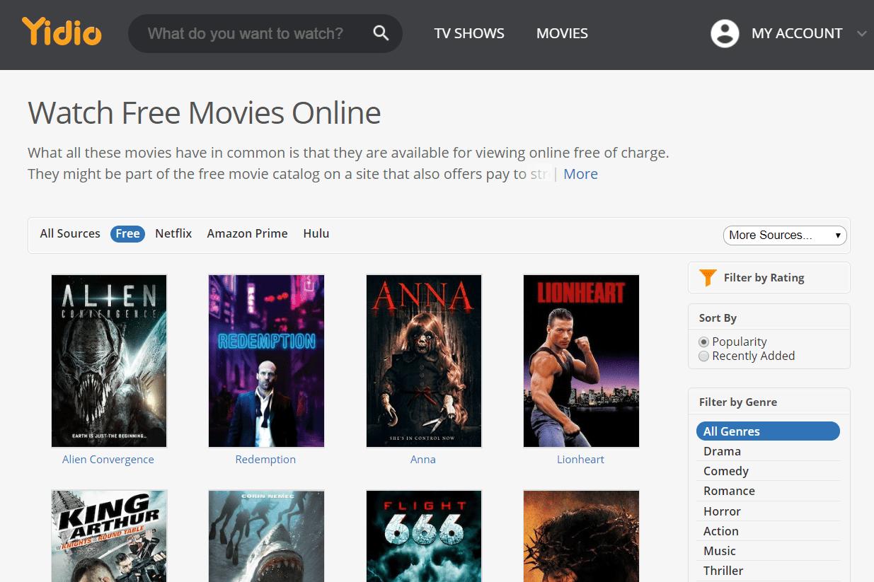 Free movies at Yidio