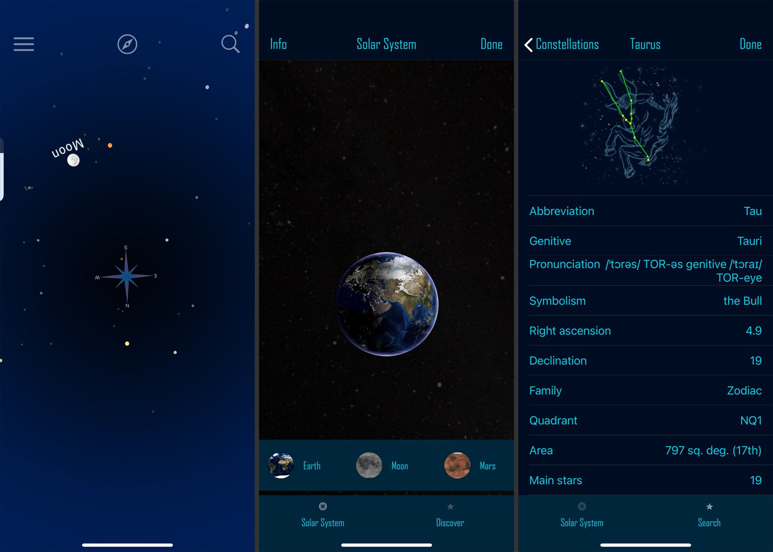Screenshots from the StarGazer Plus app.