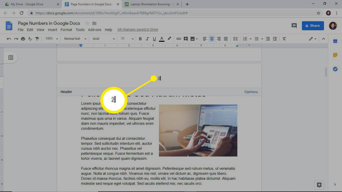 Move a page number by changing the paragraph alignment