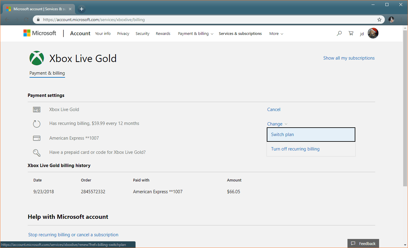 Switching plans on the Microsoft website