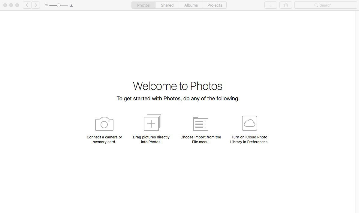 Screenshot of a new library in Photos