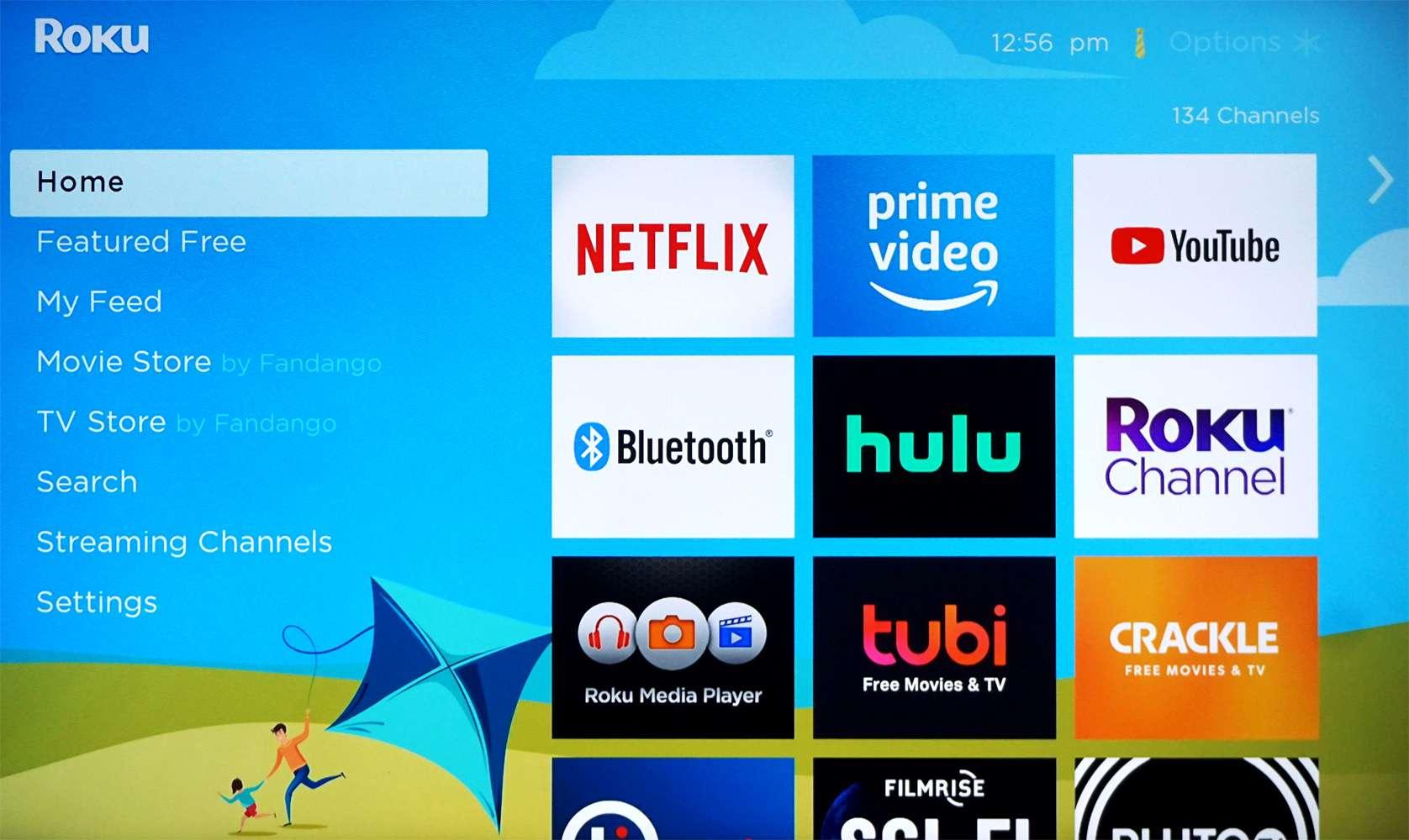 Roku home page on a TV with the sky-blue Kite theme