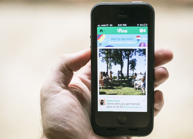 An image of the Vine app on a smartphone.
