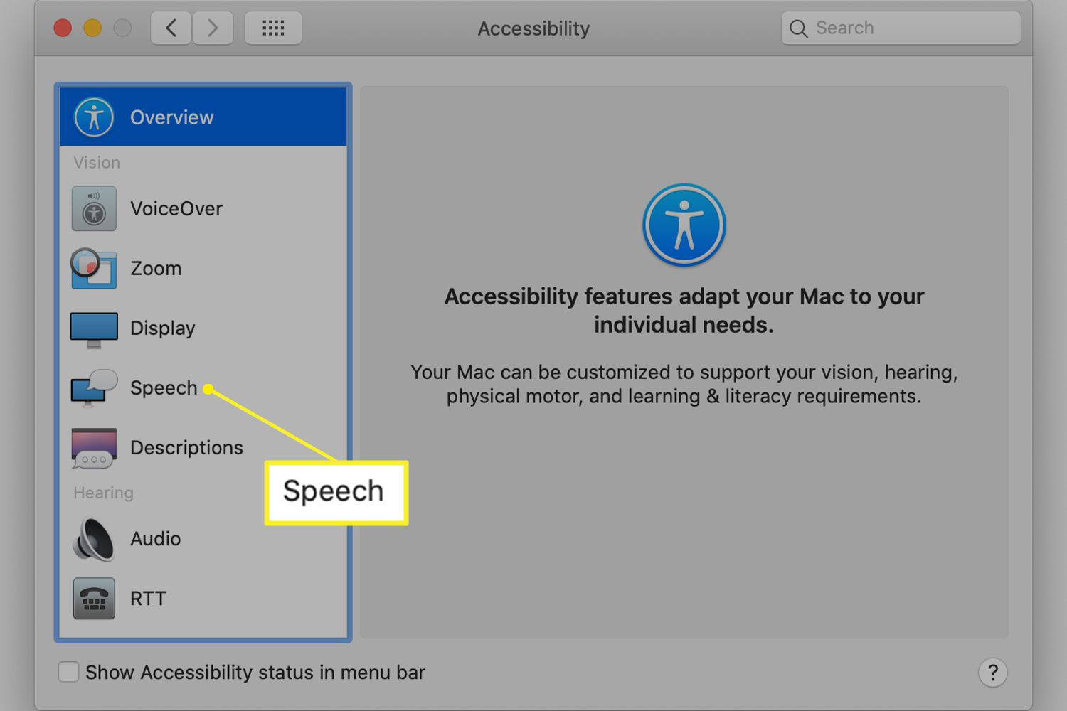Accessibility preferences with Speech highlighted