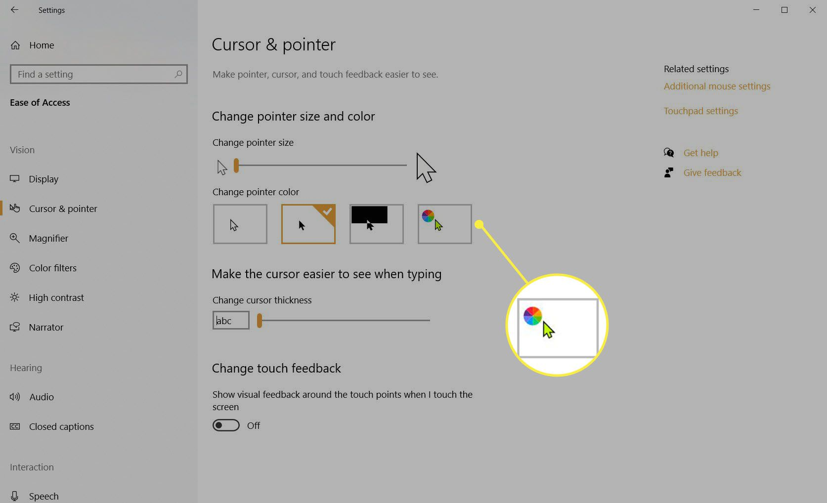 Change pointer size and color with the sliders