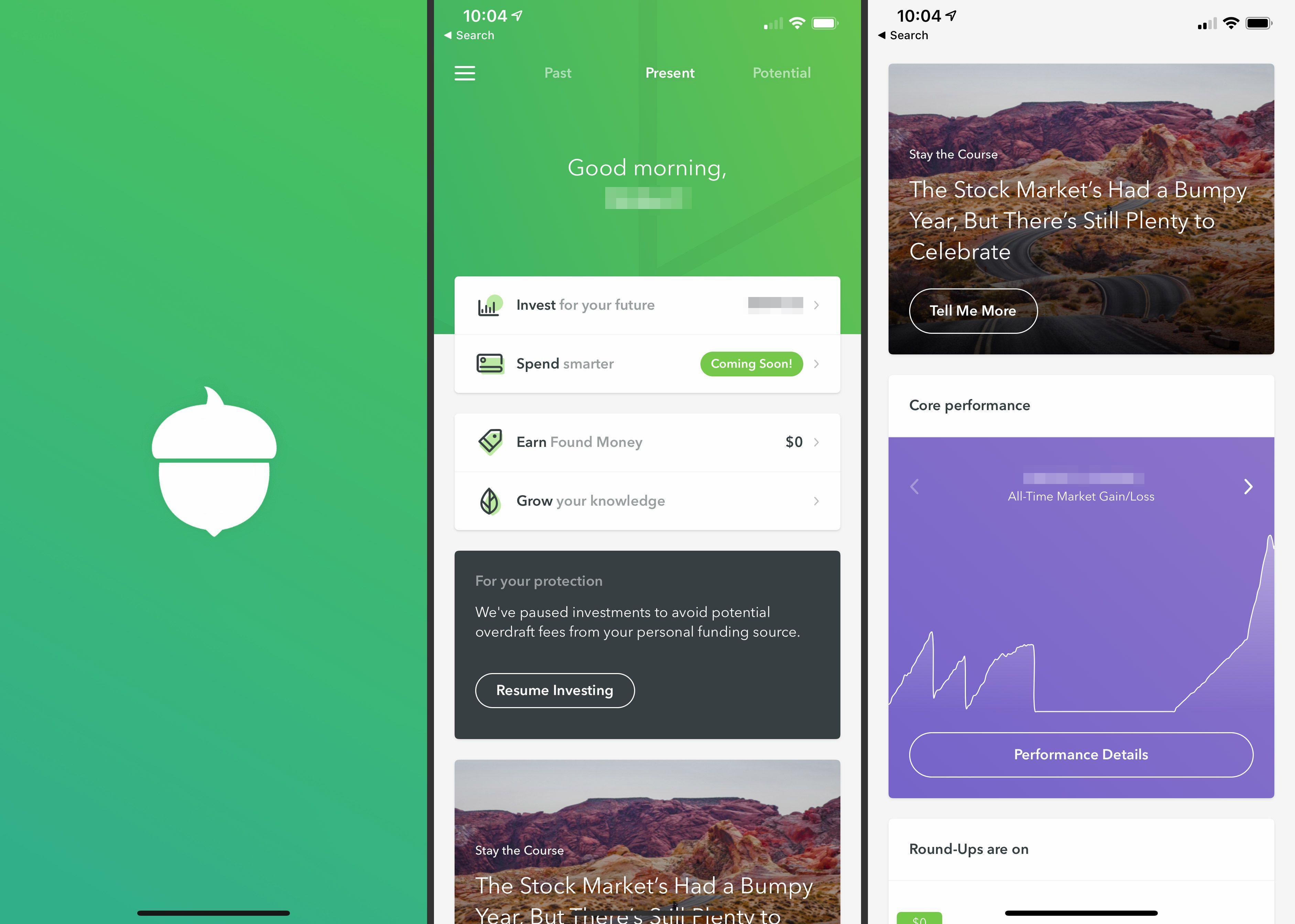 Three iOS Acorns app screens