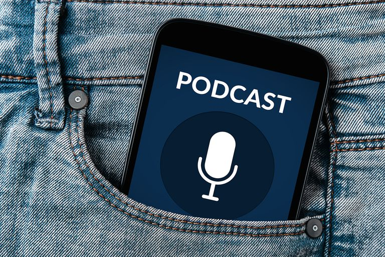 Podcast concept on smartphone screen in jeans pocket