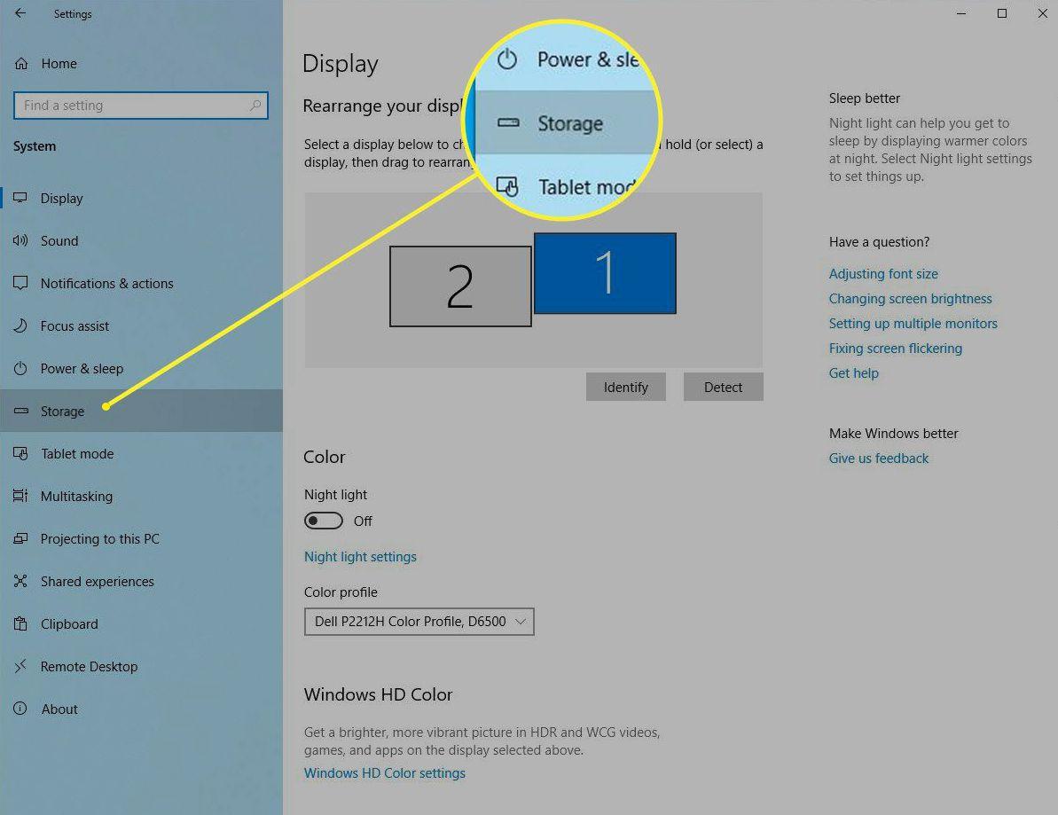 Windows Settings > Storage