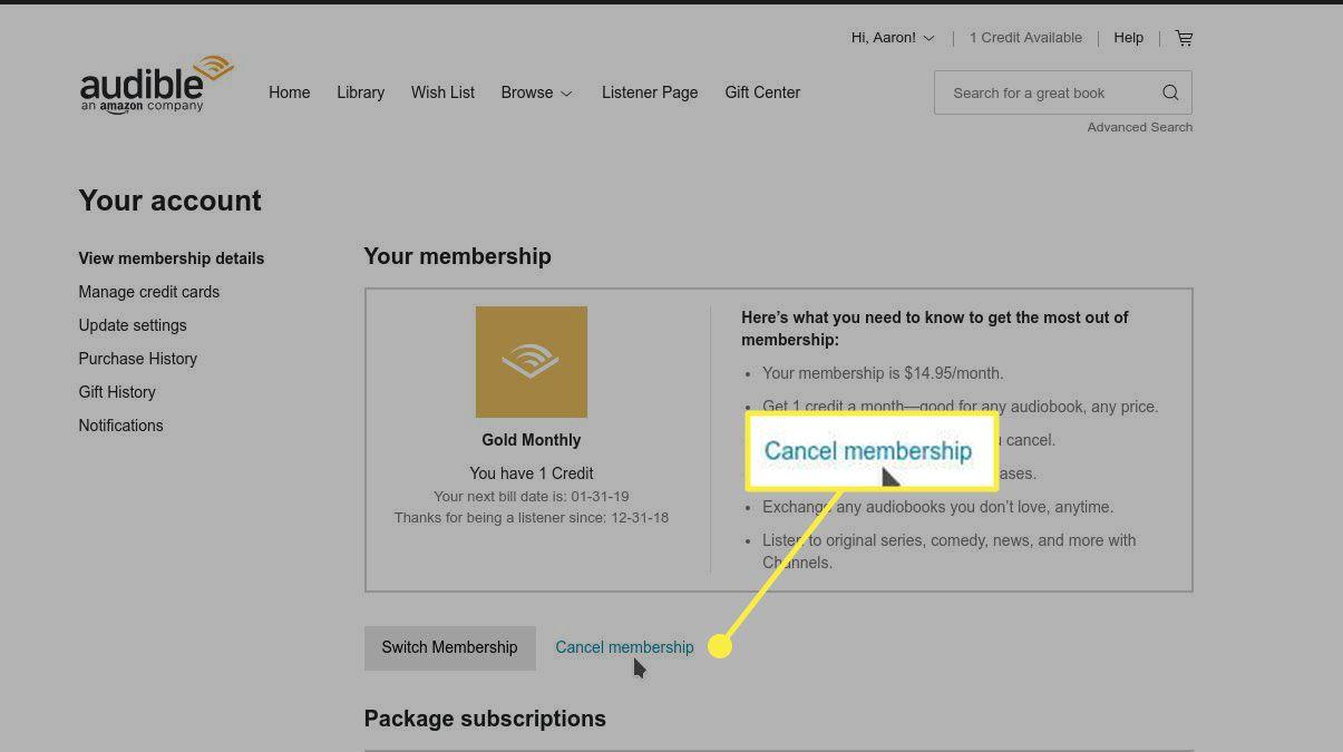 The Cancel Membership option