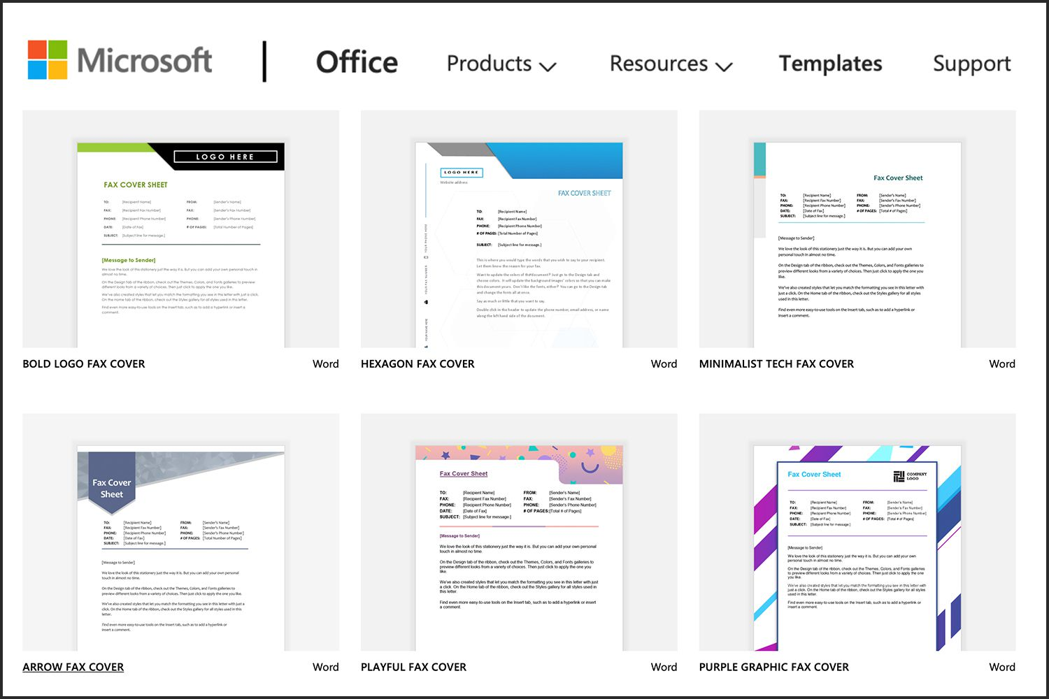 microsoft office fax cover sheets