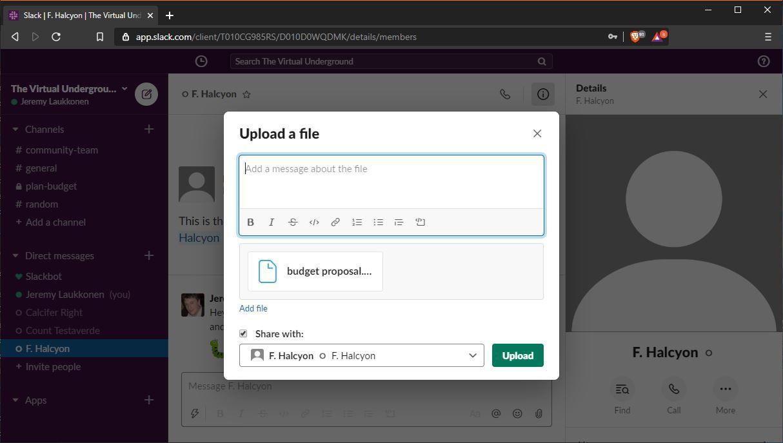 A screenshot of uploading a file in Slack.