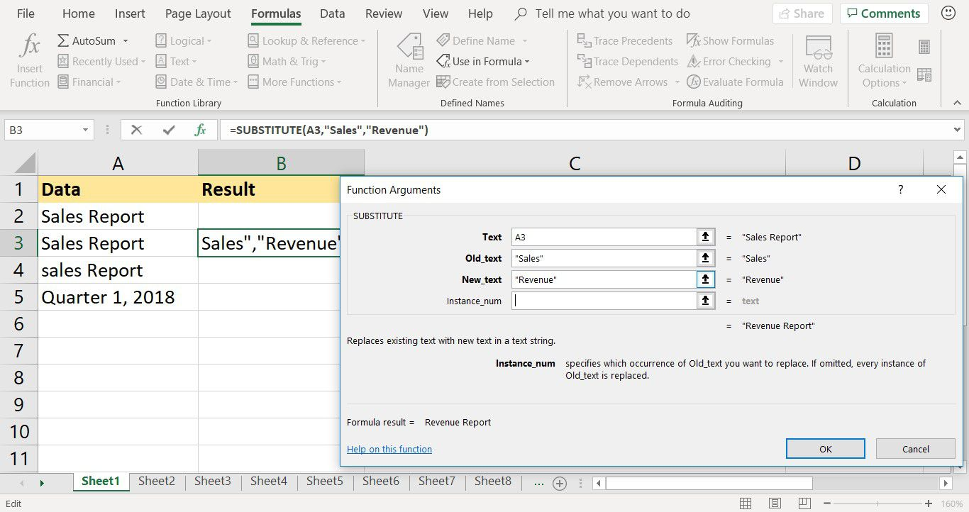 A screenshot showing how to enter the SUBSTITUTE function in Excel