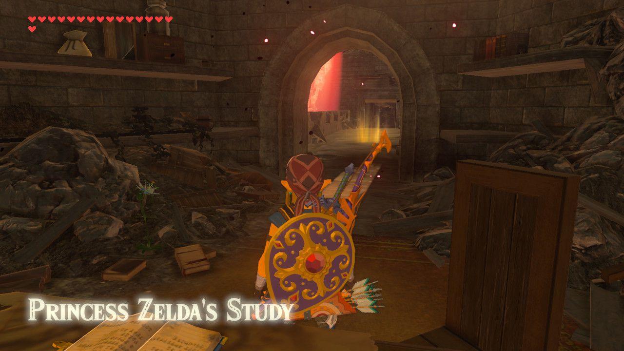 Entering Princess Zelda's Study in The Legend of Zelda: Breath of the Wild.
