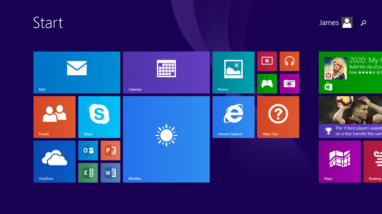 Screenshot of Windows RT 8.1 Start Menu