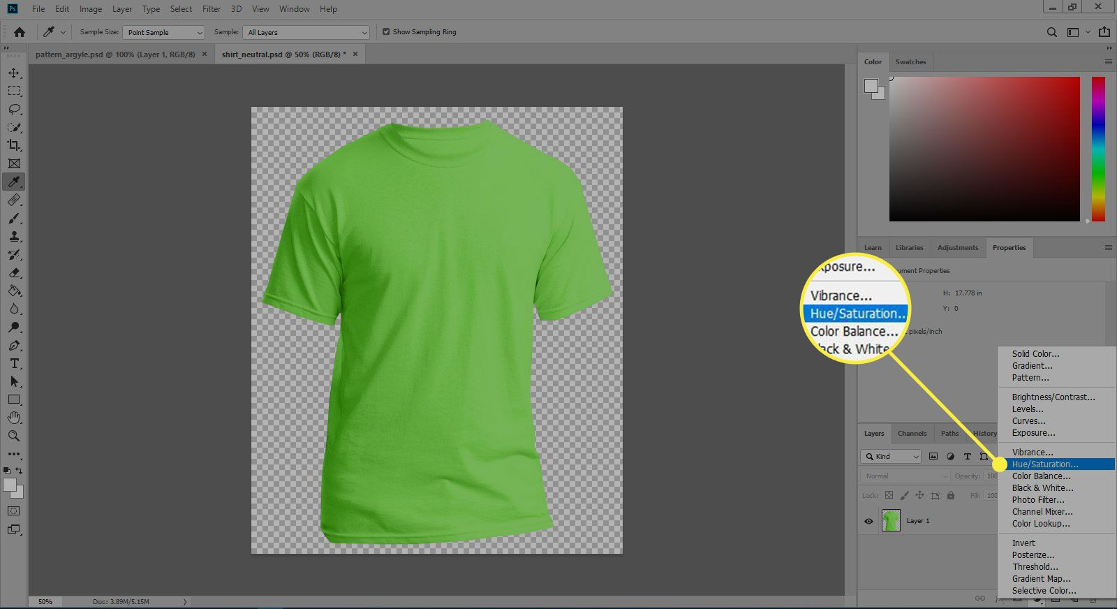 A screenshot of Photoshop with the Hue/Saturation option highlighted