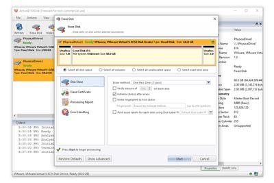 KillDisk erase disk screen