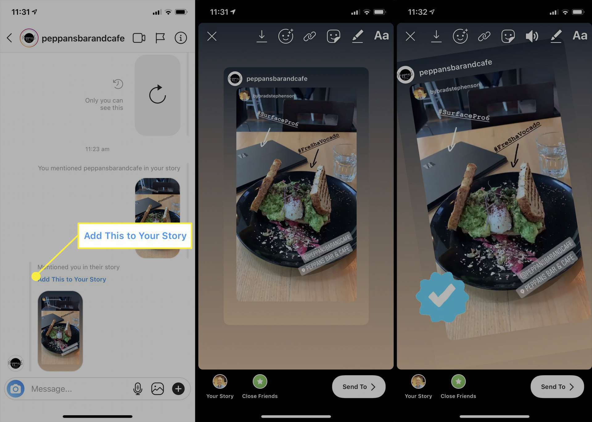 مشاركة قصة Instagram في تطبيق Instagram على iPhone.