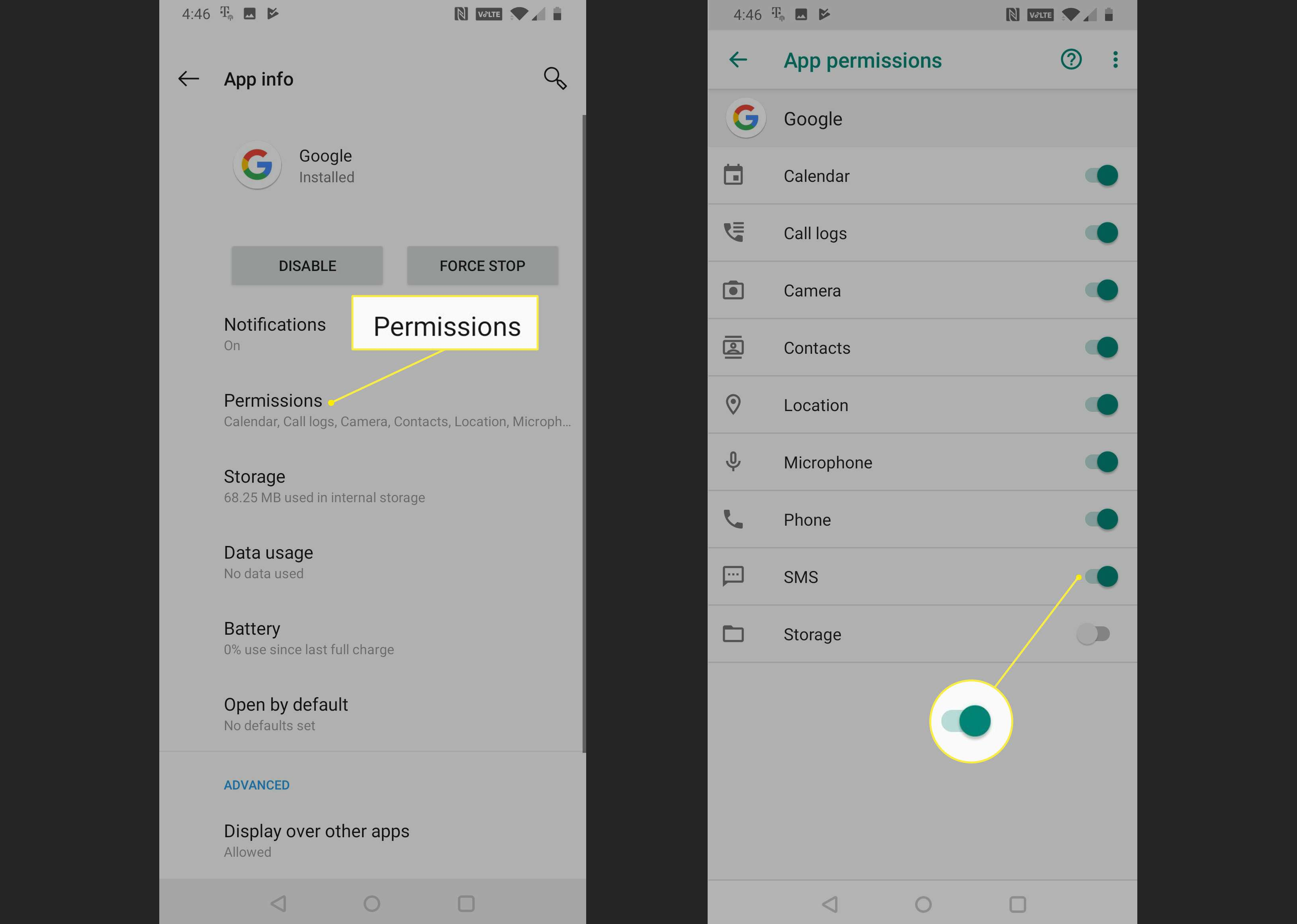 App Permissions showing the SMS slider in the On position