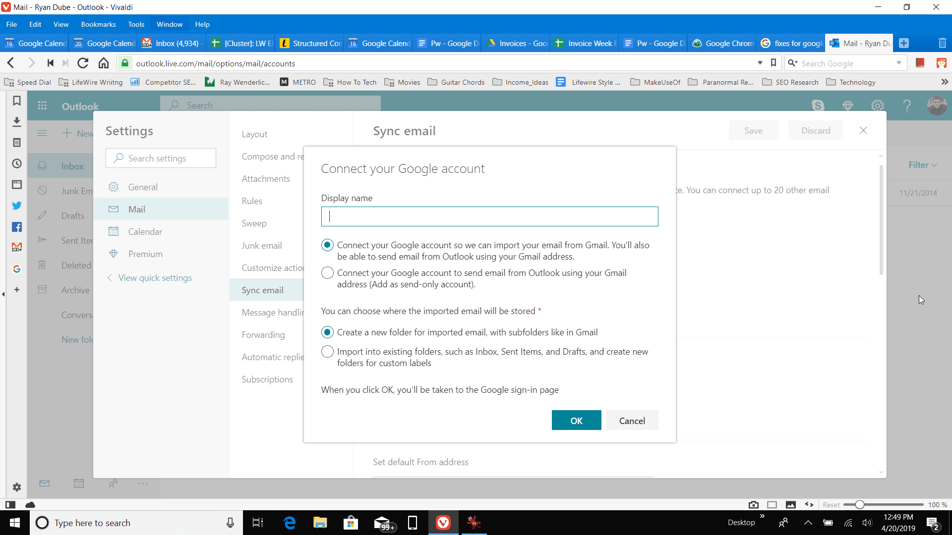Connecting your google account in Outlook Online