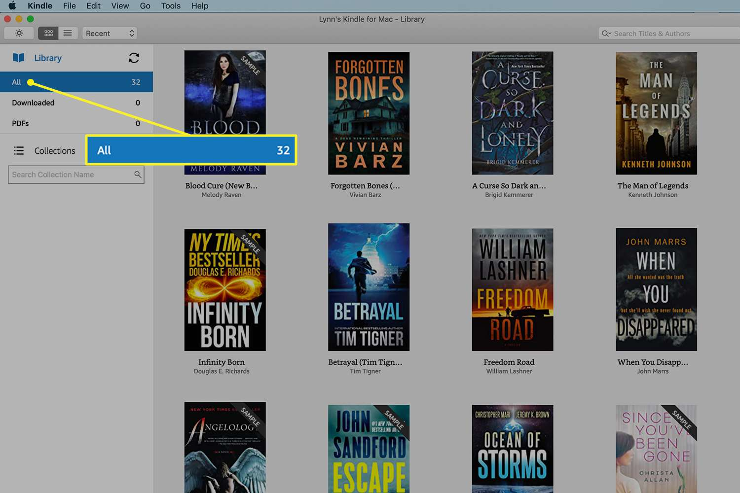 Kindle app with the Library section highlighted