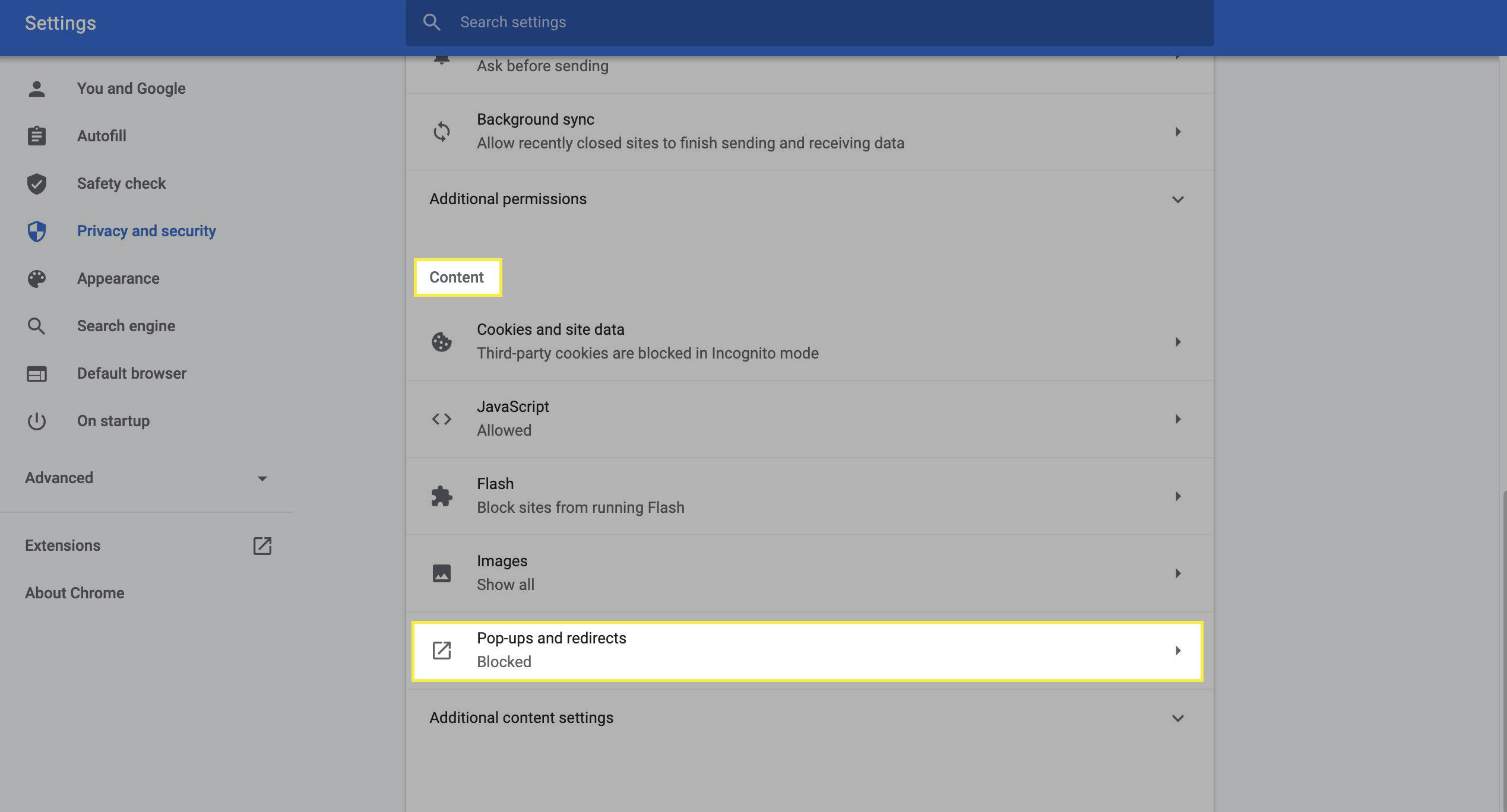 Content settings menu for adjusting pop-ups and redirects.